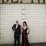 Kim Fowley, 72 years old, legendary music composer, producer, artist, and his muse Snow Mercy, Los Angeles, CA.
