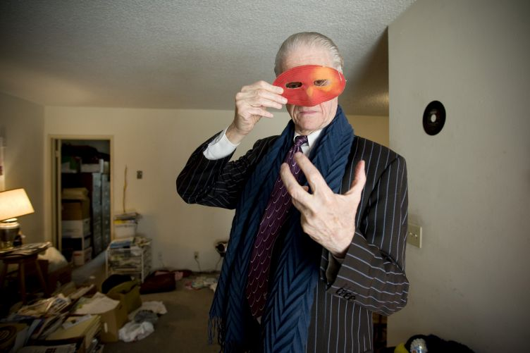 Kim Fowley, 72 years old, legendary music composer, producer, artist, at home in Los Angeles, CA.